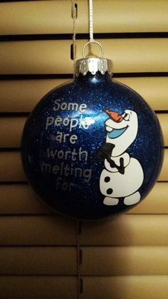2015 Christmas Frozen Olaf hand painted glitter floating ornament - Christmas ball, hanging ornament - LoveItSoMuch.com