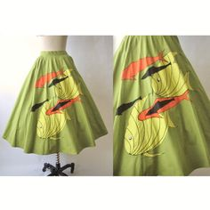 50's Novelty Skirt // Vintage 1950's Tropical by TheVintageStudio, $62.00