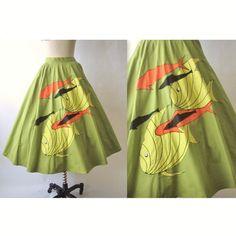 50s tropical fish print novelty skirt.