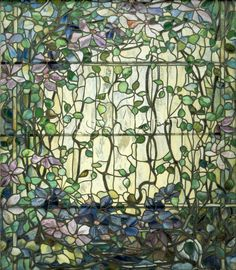 Louis+Comfort+Tiffany+Stained+Glass   Stained Glass with Clematis, c.1900 - Louis Comfort Tiffany Prints ...