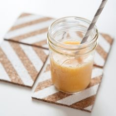 Make these cool striped corkboard coasters for your dining table.