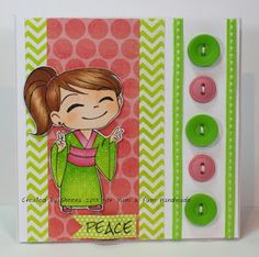 handmade greeting card featuring stamped image from @?? ? Fumi Handmade , sentiment from @Vanessa Jacky-Davis Stamps and patterned papers from #mymindseyeinc