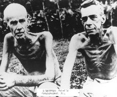This famous picture from the National Archives, shows how poorly the Japanese fed these two former POWs and the other POWs. Both men were liberated by American Rangers from Cabanatuan POW Camp in the Philippine Islands in January, World History, World War Ii, Bataan Death March, 1st Responders, Prisoners Of War, Lest We Forget, Historical Photos, Wwii, The Past