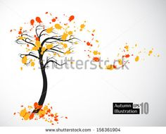 Autumn abstract tree symbolizing discount, sale. Vector format, editable