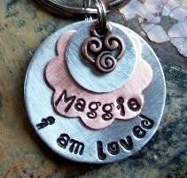 Hand stamped  (I Am Loved... Layered Flower)... Pet ID Tags/Tag Dog/Cat Tags/ID Tag. $14.00, via Etsy.