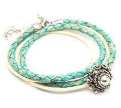 Zeeuwse knop turquoise wikkelarmband