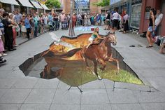 "REPIN it if you love it! How cool is this? ""Escape"" 3D horse chalk street art by Nikolaj Arndt. The rider is real but everything else is made entirely of chalk!"