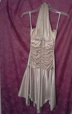 TABOO Cocktail Halter Evening DRESS JUNIORS S GOLD Shimmer Sparkle Handkerchief  #Taboo #Halter #Handkerchief #Cocktail #Dress