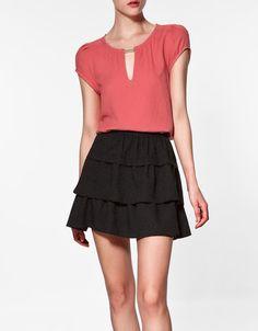 blouse with golden appliqué | ZARA