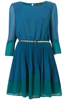 Teal Colour Block Pleated Dress - New In This Week - New In - Topshop USA - StyleSays
