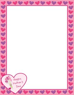 Mother's Day page border with hearts and flowers. Free downloads at http://pageborders.org/download/mothers-day-border/