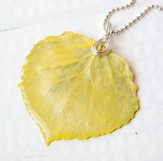 Sunshine Yellow Aspen Leaf Pendant Bridesmaid by HopeFilledJewelry