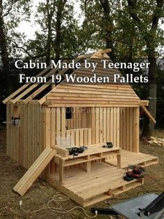 Cabin Made by Teenager From 19 Wooden Pallets
