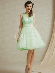 Bordado laço curto vestido de dama de honra-No.1