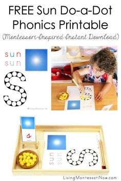 This free sun do-a-dot phonics printable is a Montessori-inspired printable for home or classroom. It's a versatile summer-themed instant download! Montessori Color, Montessori Preschool, Montessori Materials, Preschool Themes, Maria Montessori, Space Activities For Kids, Abc Activities, Montessori Quotes, Dot Letters
