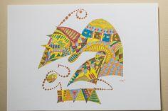 Zum aktuellen Thema der Aktion KunstRaub Nr.6: •○• Afrikanische traditionelle HausKunst •○• hier eine Tuschezeichnung auf Zeichenpapier in den Far...