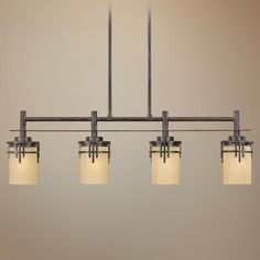 I'm thinking this is the one I want.  Mission Ridge Warm Mahogany Island Chandelier - #M4354 | LampsPlus.com