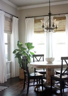 Love The Bamboo Roman Shades With Sheer Curtains Would Need A Bigger Table