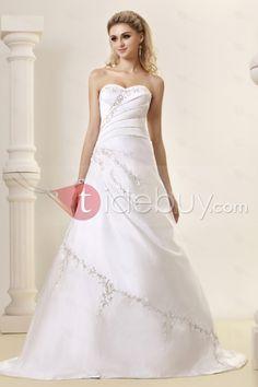 Aラインストラップレスコートトレイン刺繍ウェディングドレス