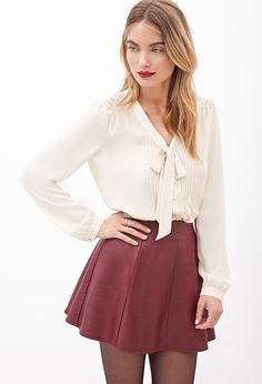 Lacy Pintucked Button-Down Blouse | Forever 21 Canada