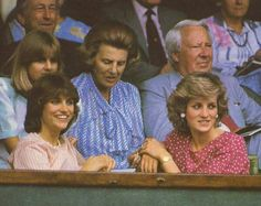 July 5, 1985: Princess Diana with friend, Carolyn Pride watching Kevin Curlen v. Jimmy Connors on centre court in the Men's Singles, Wimbledon.