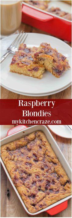 Raspberry Blondies ~ mykitchencraze.com ~ Simple and delicious blondie ...