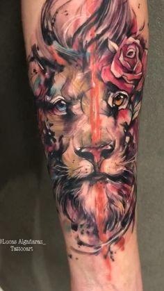 Lion Head Tattoos, Mens Lion Tattoo, Cool Forearm Tattoos, Badass Tattoos, Red Ink Tattoos, Body Art Tattoos, Tattoos For Guys, Tatoos, Mandala Lion Tattoo