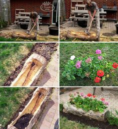 Step-By-Step diy garden decorations you can do in no time Diy Projects Step By Step, Diy Garden Projects, Diy Garden Decor, Log Planter, Planters, Backyard, Patio, Dark Photography, Canning
