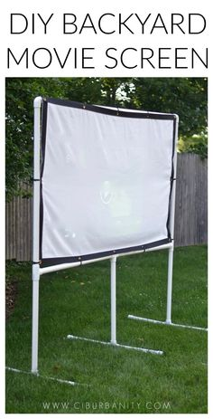 Backyard Movie Screen DIY backyard movie screen using PVC pipes and a clearance sheet.DIY backyard movie screen using PVC pipes and a clearance sheet. Backyard Movie Screen, Outdoor Movie Screen, Backyard Movie Nights, Pvc Pipe Crafts, Pvc Pipe Projects, Pvc Furniture, Dining Furniture, Garden Furniture, Backyard Games