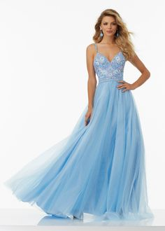 Long Lovely Floral Embroidered Soft Tulle Prom Dress With Deep-V Neck