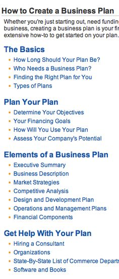 business plan elements