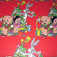 Vintage Looney Tunes character Christmas gift wrap
