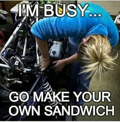 I'm busy go make your own sandwich. #cargirlforlife #realgirlslovecars