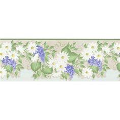 451-1701 Green Floral Trail - Brewster Wallpaper Borders