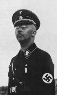 Heinrich Himmler, the architect of the holocaust and final solution, and considered to be the biggest mass murderer ever, by some (although it's really Josef Stalin). The holocaust would not have happened if not for this man. He tried to breed a master race of Nordic appearance, the Aryan race. Himmler was captured after the war. He committed suicide by swallowing a cyanide capsule he had bit upon.