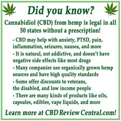 Many are not aware that hemp CBD is available legally  in all 50 states! They may also be unaware that it has a range of benefits and comes in a range of products like oils, vape liquids, topicals, capsules, edibles, and more! CBD is not addictive, does not have negative side effects, and won't make you fail a drug test. Many companies have high quality standards! Share now to help spread the word! #cbd #hempoil #cbdoil #hemp #natural #cannabidiol #cannabinoids #medicine #review #discount…