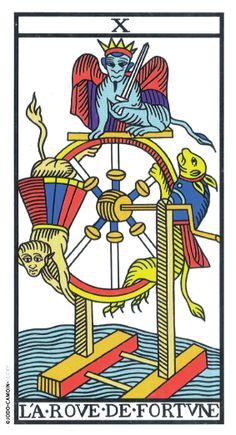 Wheel of Fortune - Tarot de Marseille (Camoin-Jodorowsky) - rozamira tarot - Picasa Web Albums Wheel Of Fortune Tarot, Le Tarot, Tarot Gratis, Epic Of Gilgamesh, Tarot Major Arcana, Aleister Crowley, Tarot Decks, Occult, Toys