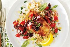 Grilled Pork Chops With Tomato Olive Salsa. Love this dish, it's just like mom's home cooking