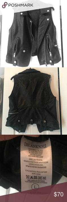 Faux Leather Blank NYC Vest Worn once, faux leather, black, like new, impulse Nordstrom purchase Blank NYC Jackets & Coats Vests