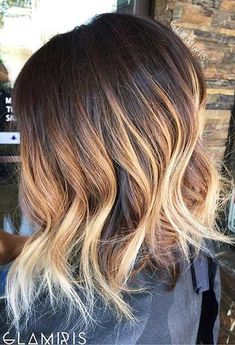 Choppy Inverted Bob Haircut + Blonde Balayage Highlights