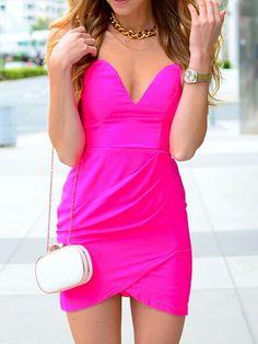 Fluorescent Pink Low Cut Bodycon Dress   Choies