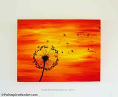 Great Dandelion Painting on 24×18 Large Canvas Painting – Sunset Paintings Silhouette Art – Red, Yellow, Orange Home Decor – Nature Decor Artwork  The post  Dandelion Painting on 24×18 Large  ..