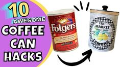 10 USEFUL Ways to REUSE COFFEE & TIN CANS/Upcycled Crafts/Decor From Garbage/Trash to Treasure - YouTube Coffee Can Crafts, Tin Can Crafts, Folgers Coffee, Coffee Tin, Pie Craft, Pool Noodle Crafts, Humble Pie, Painted Flower Pots, Tin Cans