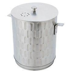 Silver Kitchen Compost Pail w/ reusable liner