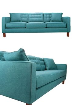 The Edith Sofa presents an artistic innovation in modern seating. Featuring a tri-cushioned, tufted backing, this sofa offers an eye-catching, seductive appearance in a vibrant statement shade of Caribbean teal that is sure to be a winning centerpiece. Home And Living, Living Room, Deco Design, Booth Design, Dot And Bo, Apartment Living, Home Furnishings, Family Room, Sweet Home