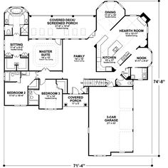 Southern Style House Plan - 3 Beds 3.5 Baths 2461 Sq/Ft Plan #56-241 Floor Plan would require major changes but bedroom wing has great potential. Rework it.
