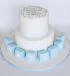 Blue Blossoms Christening Cake