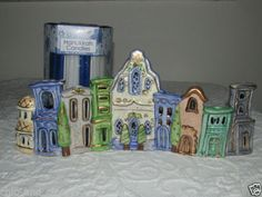 Hanukkah Ceramic Menorah Candle Holder + 45 Candles Heather Goldminc Blue Sky