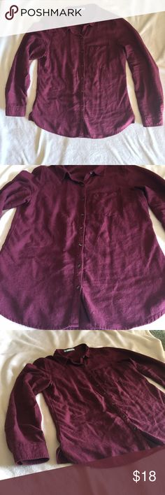 ❗️SALE❗️Burgundy Button Up Flannel Long, burgundy button up. Flannel like feel. 55% cotton, 45% rayon. Worn once. Maurices Tops Button Down Shirts