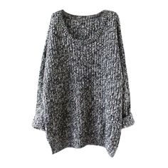 Oversized Scoop Neck Loose Fit Chunky Knit Sweater (€24) ❤ liked on Polyvore featuring tops, sweaters, long sleeve oversized top, oversized chunky knit sweater, extra long sleeve sweater, scoop neck top and round neck sweater